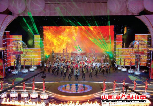 LED display and stage lighting side by side what role