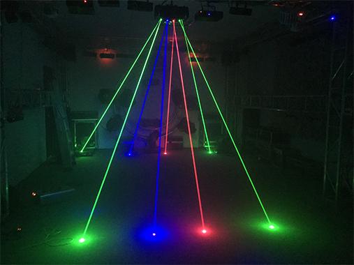 Single green full-color spider laser light