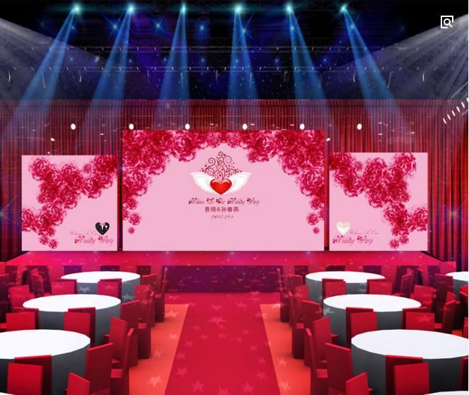 宴会厅设计舞台灯光搭配方案效果图